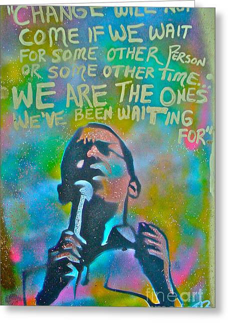 Michelle Obama Paintings Greeting Cards - Obama In Living Color Greeting Card by Tony B Conscious