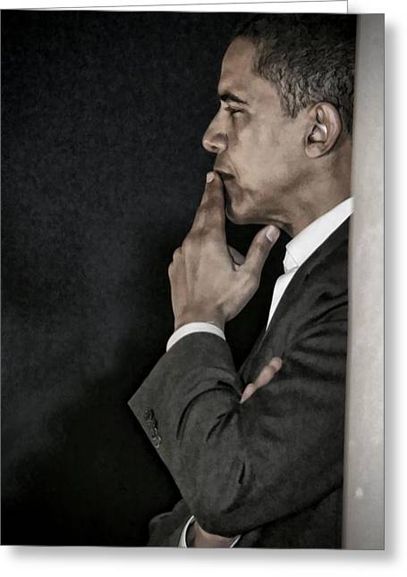 Barack Greeting Cards - Obama in Thought Greeting Card by Brad Barton