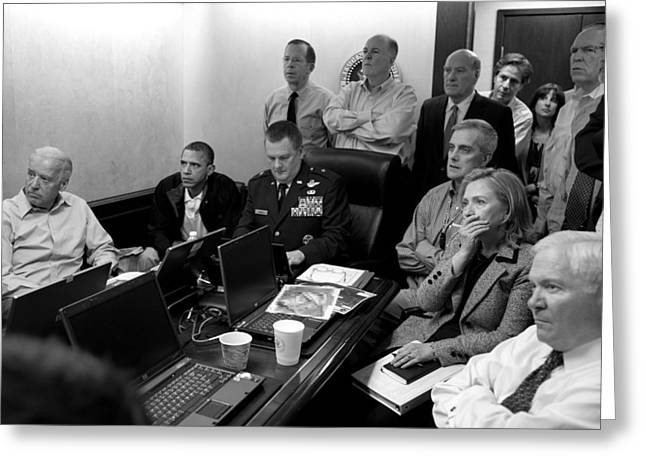 Democrat Photographs Greeting Cards - Obama In White House Situation Room Greeting Card by War Is Hell Store