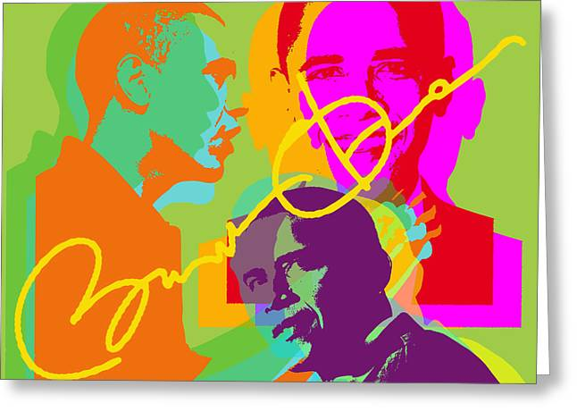 President Obama Greeting Cards - Obama Greeting Card by Jean luc Comperat
