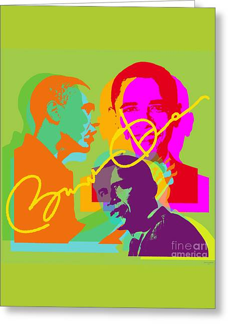 Michelle-obama Greeting Cards - Obama Greeting Card by Jean luc Comperat