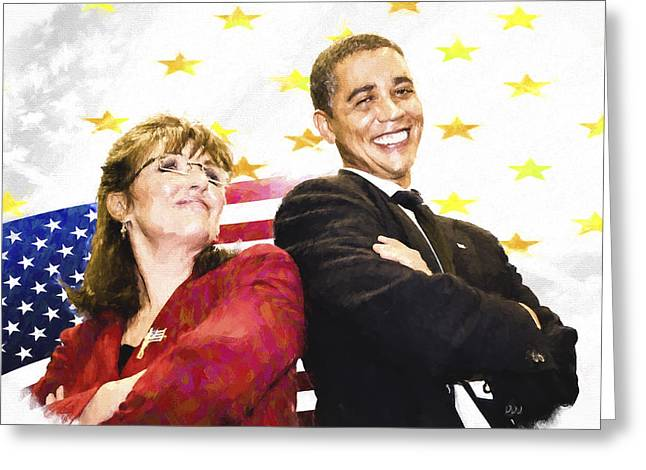 President Barack Obama Photographs Greeting Cards - Obama n Palin Greeting Card by Vivian Frerichs
