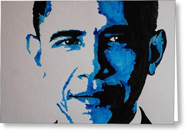 Obama. Greeting Card by Nancy Mergybrower