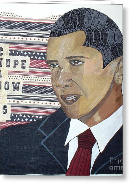 Patriotic Tapestries - Textiles Greeting Cards - Obama quilt Greeting Card by Peche Brown