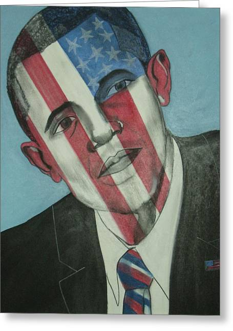 Obama Mixed Media Greeting Cards - Obama Greeting Card by Stanley Clark