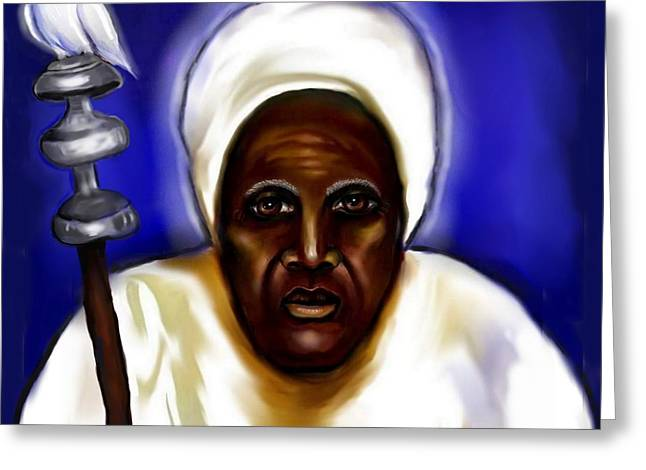 Orishas Greeting Cards - Obatala -Father of Orishas Greeting Card by Carmen Cordova