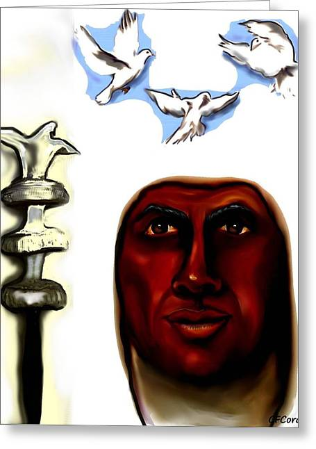 Orishas Greeting Cards - Obatala -King of White Cloth Greeting Card by Carmen Cordova