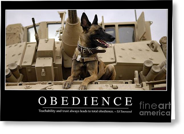 Iraq Posters Photographs Greeting Cards - Obedience Inspirational Quote Greeting Card by Stocktrek Images