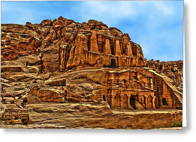 Petra Greeting Cards - Obelisks Tomb Greeting Card by Vladimir Rayzman