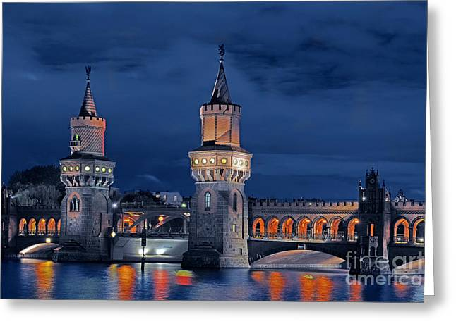 Festival Of Light Greeting Cards - Oberbaum Bridge, Berlin Greeting Card by Ingo Schulz