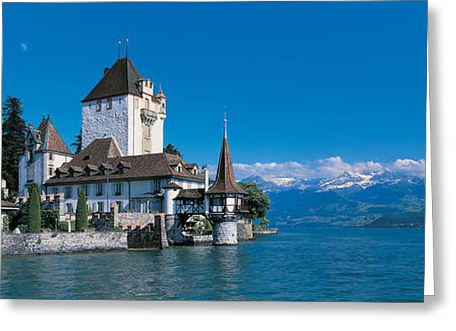 Snow Capped Greeting Cards - Oberhofen Castle W\ Thuner Lake Greeting Card by Panoramic Images