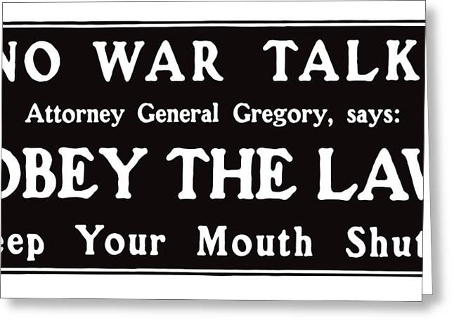 Ww1 Greeting Cards - Obey The Law Keep Your Mouth Shut Greeting Card by War Is Hell Store