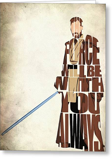 Typography Print Greeting Cards - Obi-Wan Kenobi - Ewan McGregor Greeting Card by Ayse Deniz