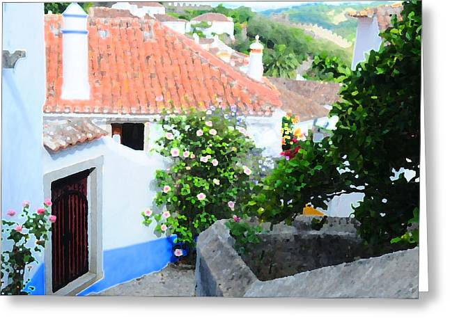 Pallet Knife Photographs Greeting Cards - Obidos Castle Village II Greeting Card by Nelson Anastacio