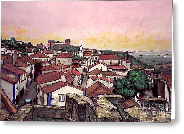City Buildings Mixed Media Greeting Cards - Obidos Greeting Card by Sarah Loft