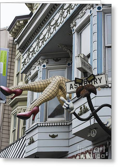 Haight Ashbury Greeting Cards - Obligatory S F Image Greeting Card by David Bearden