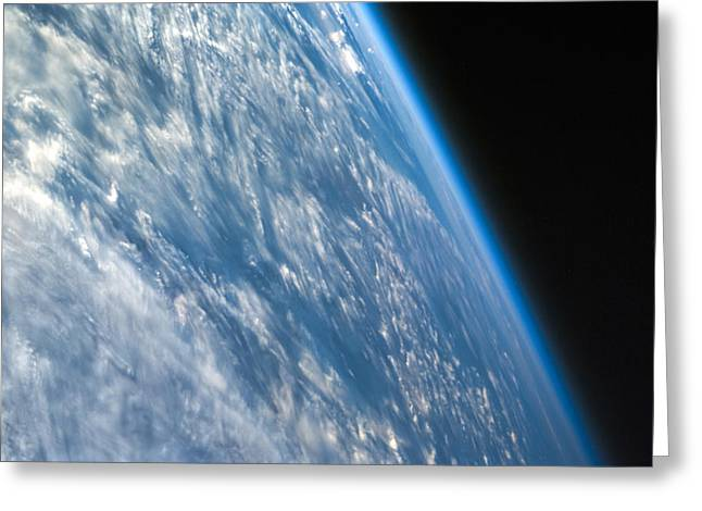Office Space Greeting Cards - Oblique Shot of Earth Greeting Card by Adam Romanowicz