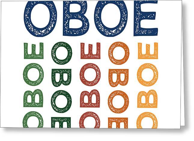 Oboe Cute Colorful Greeting Card by Flo Karp