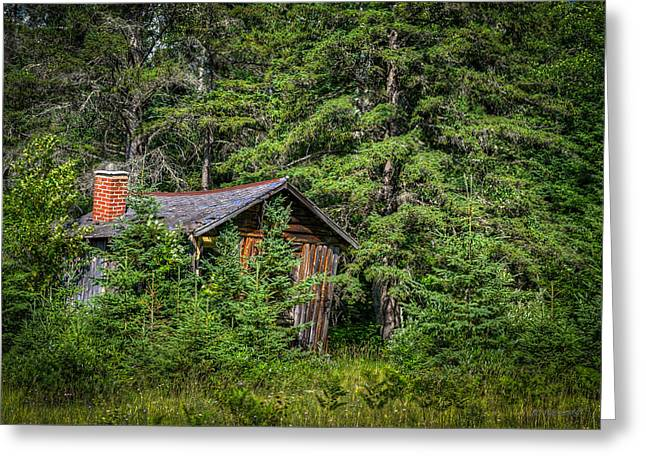 Hunting Cabin Greeting Cards - Obscurity Greeting Card by Bill Pohlmann