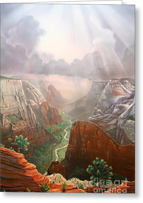 Sun Rays Paintings Greeting Cards - Observation Point ZION Greeting Card by Jerry Bokowski