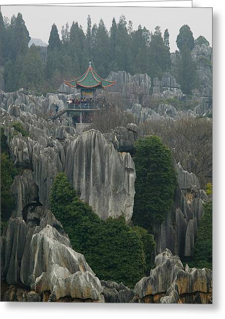 Observation Greeting Cards - Observation Tower On Limestone Greeting Card by Panoramic Images