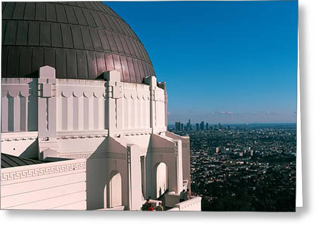 Observatory Greeting Cards - Observatory With Cityscape Greeting Card by Panoramic Images