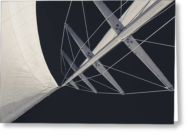 Fun Greeting Cards - Obsession Sails 7 Black and White Greeting Card by Scott Campbell