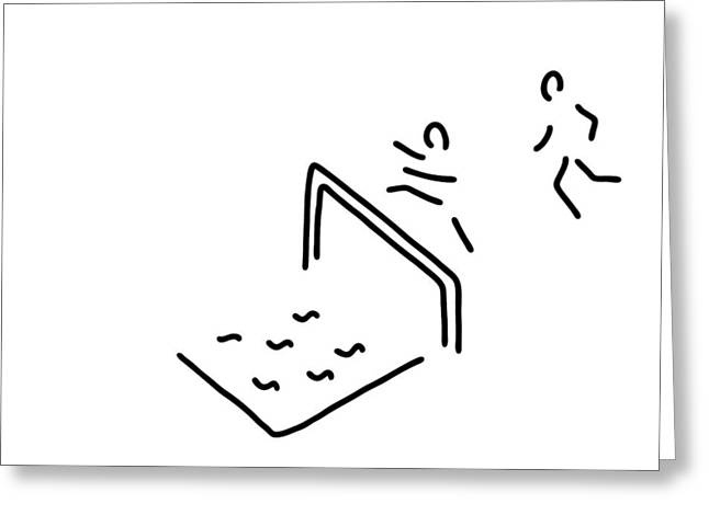 Jogging Drawings Greeting Cards - Obstacle Course Athletics Hurdle Run Greeting Card by Lineamentum