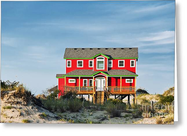 Rent House Greeting Cards - OBX Beach House Greeting Card by John Greim