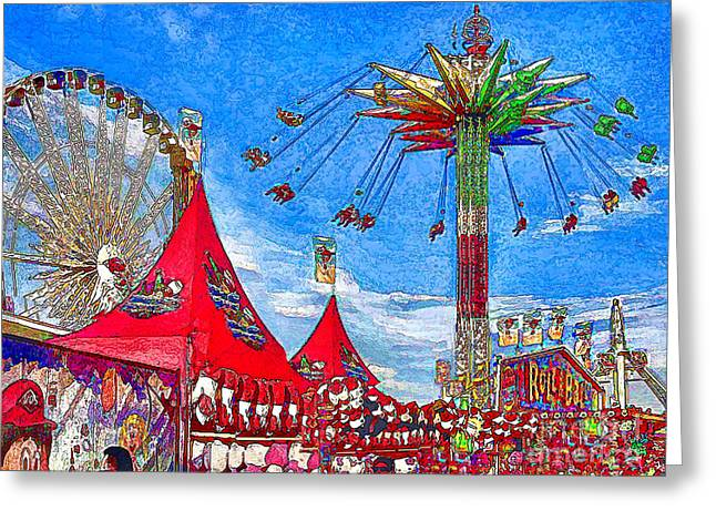 Hot Pink Ferris Wheel Photos Greeting Cards - OC Fair Fun Digitized Greeting Card by Jennie Breeze