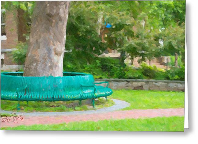 New England Village Greeting Cards - OC1016 Circle in the Park Greeting Card by Global Village Photography and Fine Art