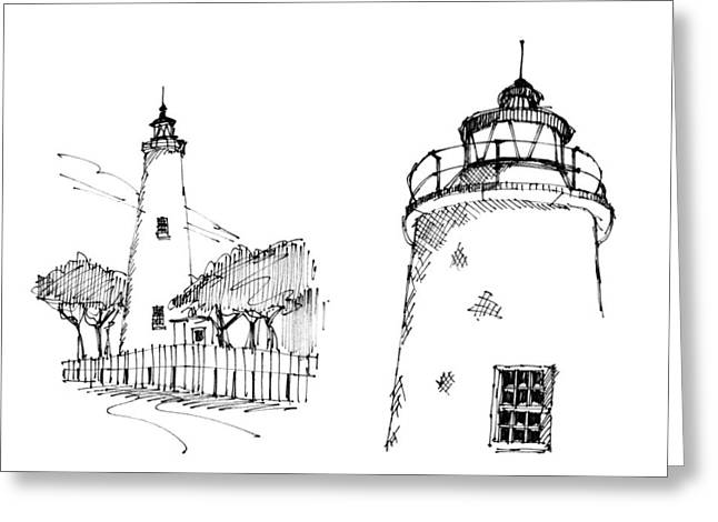 North Shore Drawings Greeting Cards - Ocaracoke Lighthouse Detail Sketches 1992 Greeting Card by Richard Wambach