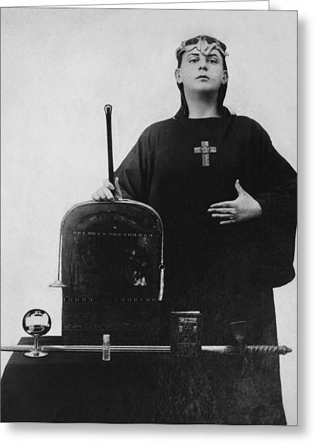Religious Dress Greeting Cards - Occultist Aleister Crowley Greeting Card by Underwood Archives