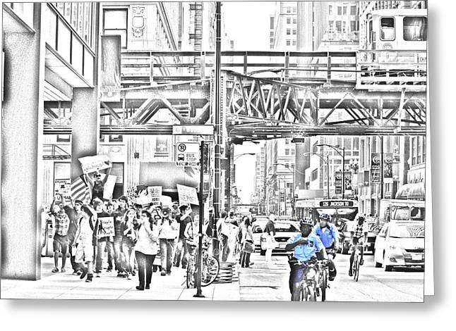 Occupy Greeting Cards - Occupy Chicago on the March Greeting Card by Thom Lodge
