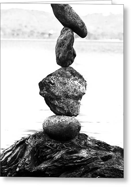Zen Rock Stacking Greeting Cards - Occupy Earth Greeting Card by Matthew Blum
