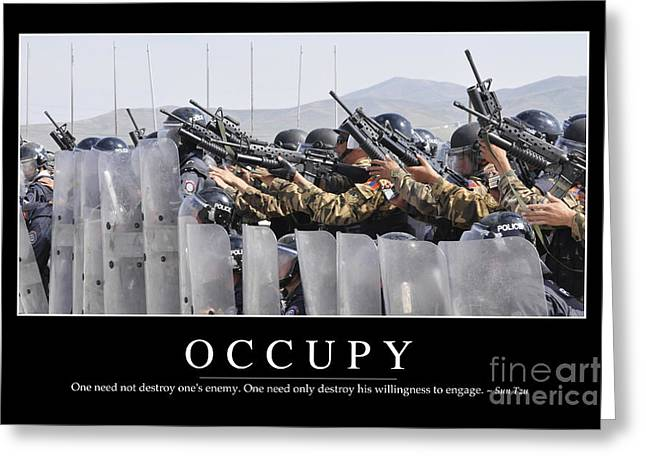 Occupy Photographs Greeting Cards - Occupy Inspirational Quote Greeting Card by Stocktrek Images