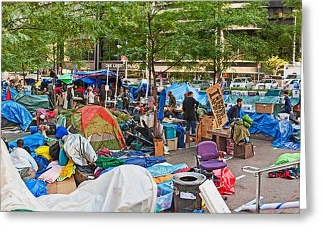 Occupy Greeting Cards - Occupy Wall Street At Zuccotti Park Greeting Card by Panoramic Images