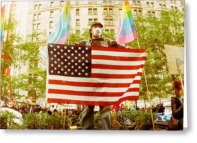 Occupy Greeting Cards - Occupy Wall Street Protester Holding Greeting Card by Panoramic Images
