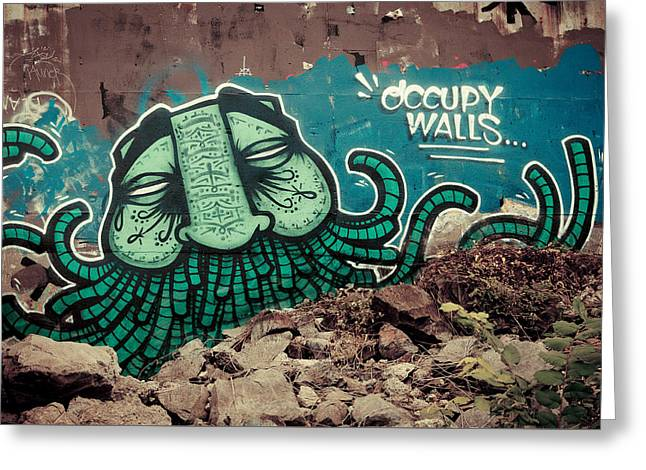 Best Sellers -  - Occupy Greeting Cards - Occupy Walls Greeting Card by James Unkov