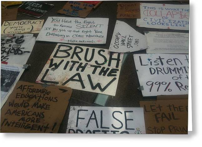 Occupy Greeting Cards - Occupy WallStreet Brush with the Law Greeting Card by Hope VanCleaf