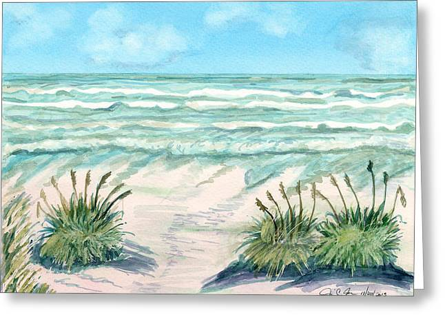 Sea Oats Mixed Media Greeting Cards - Ocean and Oats Greeting Card by Jill Jackson