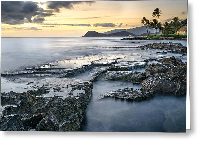 Koolina Greeting Cards - Ocean and Rock Greeting Card by Tin Lung Chao