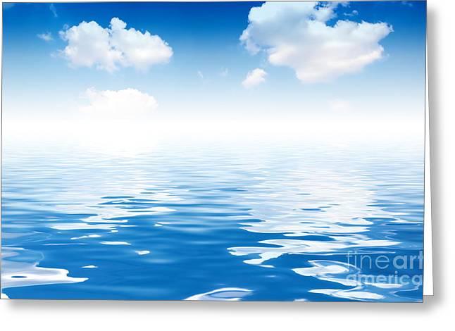 Reflex Greeting Cards - Ocean and Sky background Greeting Card by Michal Bednarek