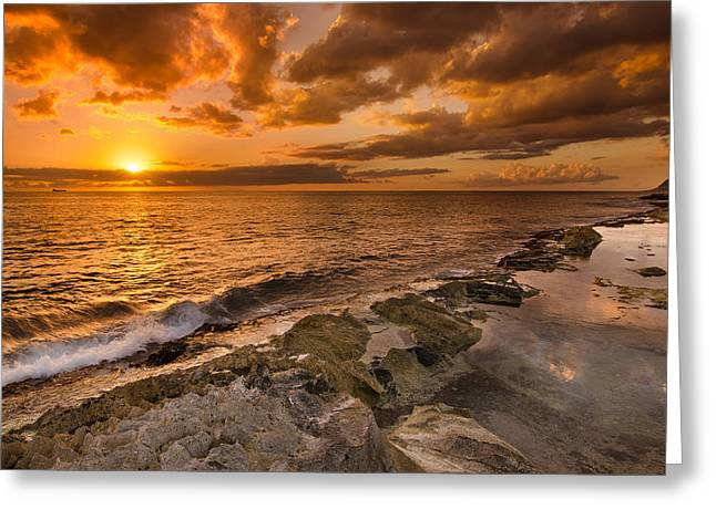 Koolina Greeting Cards - Ocean and Sunset Greeting Card by Tin Lung Chao