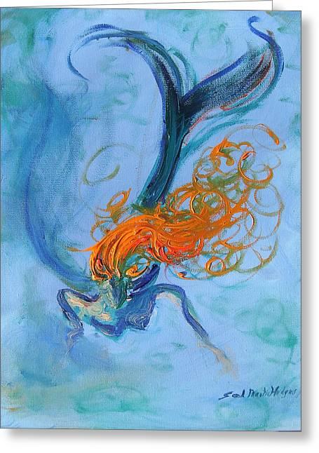 Angel Mermaids Ocean Paintings Greeting Cards - Ocean Angel Greeting Card by Sandra Martin Hudgins