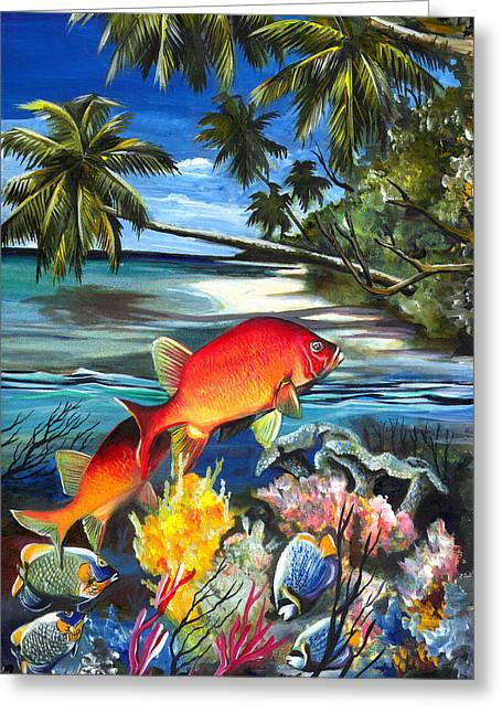 Fish Framed Prints Mixed Media Greeting Cards - Ocean art-1 Greeting Card by Naushad  Waheed