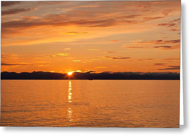 Inside Passage Greeting Cards - Ocean At Sunset, Inside Passage Greeting Card by Panoramic Images
