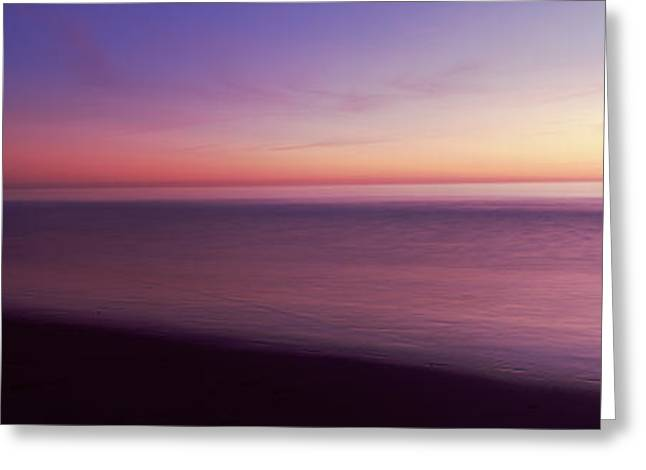 California Ocean Photography Greeting Cards - Ocean At Sunset, Los Angeles County Greeting Card by Panoramic Images