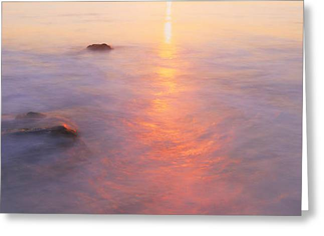 Ocean Photography Greeting Cards - Ocean At Sunset Greeting Card by Panoramic Images