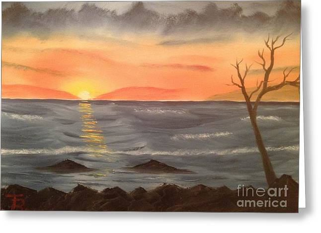 Bob Ross Paintings Greeting Cards - Ocean at Sunset Greeting Card by Tim Blankenship
